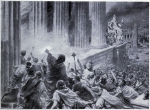 Rendering of the burning of the Alexandria library in Egypt.